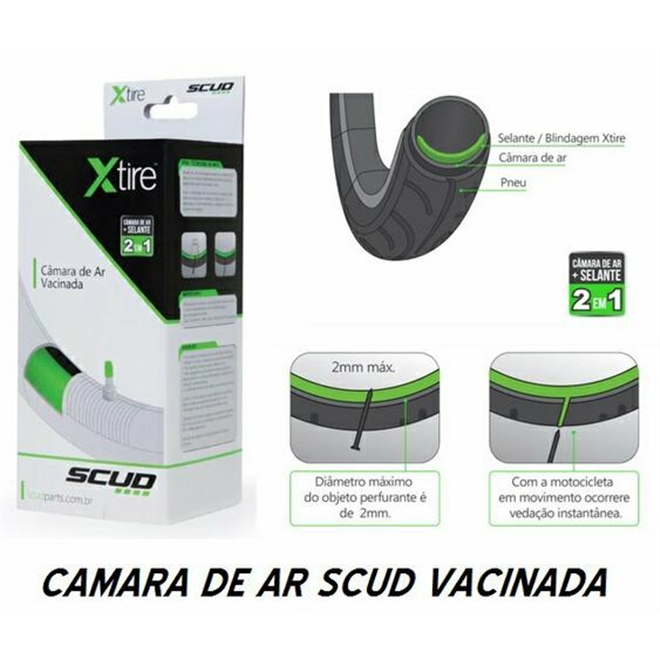 CÂMARA DE AR SCUD VACINADA SCC-17 110/90-17 BUTYL