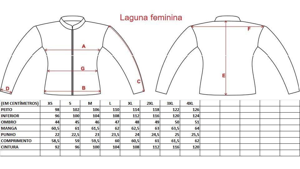 Tabela medidas Jaqueta Gutti Laguna Feminina