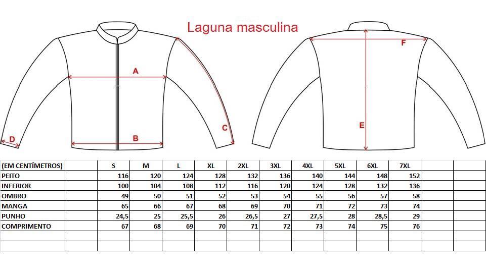 Tabela Medidas Jaqueta Gutti Laguna Masculina