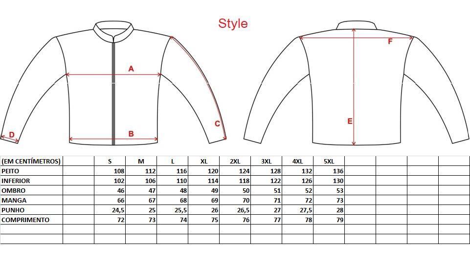 Tabela medidas Jaqueta Gutti New Style
