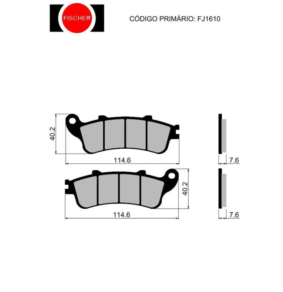 PASTILHA FISCHER DIANT/TRAS METALLIC FJ1610M HONDA