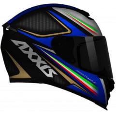 CAPACETE AXXIS EAGLE ITALY 2 MATT BLACK/GREY/BLUE