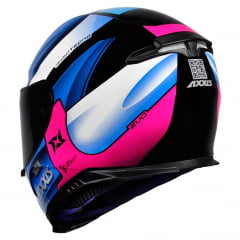 CAPACETE AXXIS EAGLE TECNO GLOSS BLACK/PINK/BLUE