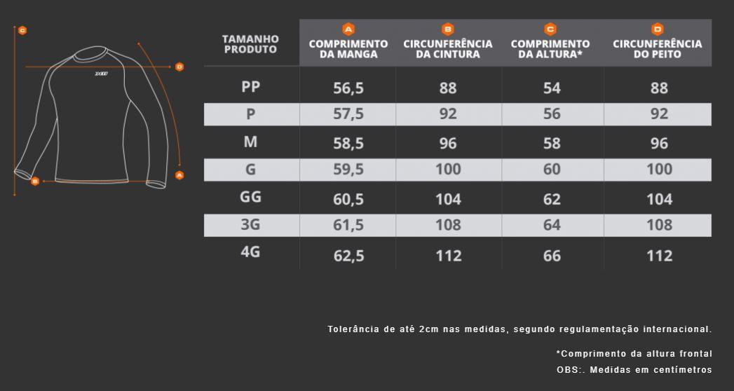 Tabela Medidas Blusa Segunda Pele Climate 3 - X11
