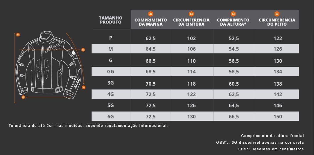 Tabela de medidas Jaqueta Evo3 X11