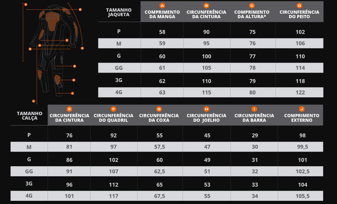 Tabela medidas Macacão X11 Speed 2